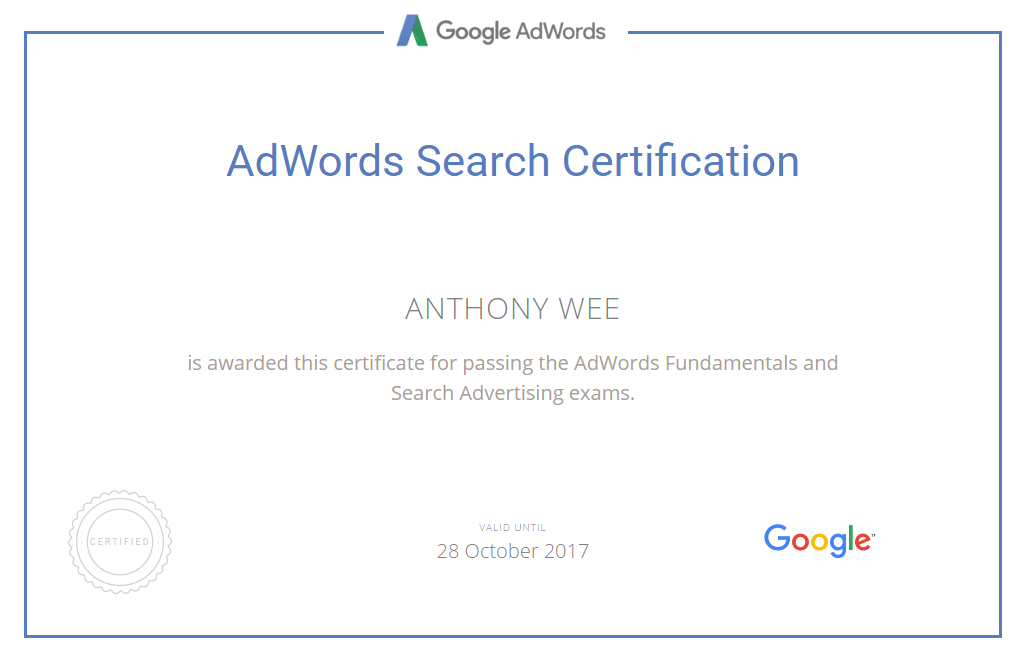 Adwords Certification Resume